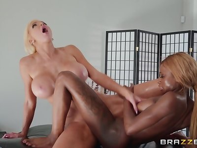 Interracial lesbian massage Put Your Body Into In the chips - blonde cougar mom Nicolette Shea and ebony tot Kinsley Karter