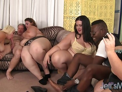 Four load of shit craving BBWs licking each successive during crazy prepare action