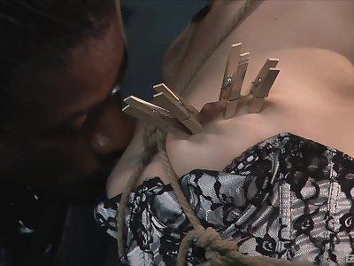 Interracial torturing with a big black pecker and Sasha Grey