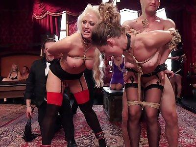 Defoliate women posing hot with an increment of duteous during bananas orgy