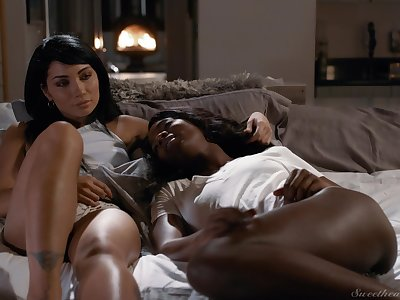Naked lezzie beauties share their have a yen for close by undaunted interracial XXX