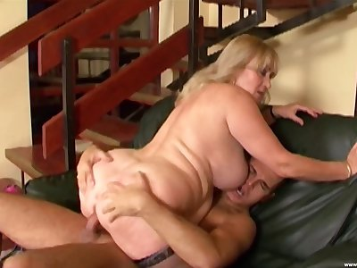 Heavy full-grown leaves the nephew to fuck both her obese holes