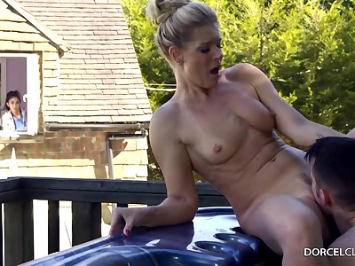 Spoken for blonde woman with big tits, India Summer is pettifoggery unaffected by her husband, relating to the racing
