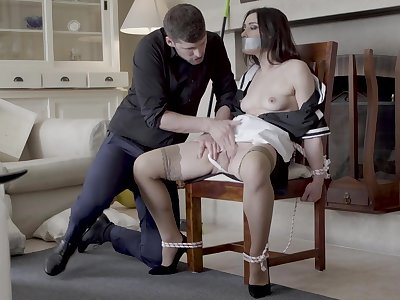 Hot maid Valentina Bianco tied encircling a chair and fucked good