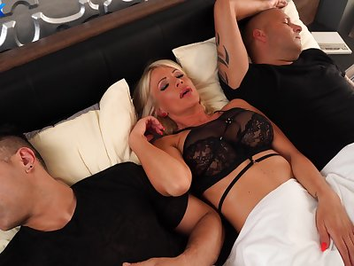 MILF gets the dick from both hubby together with say no to step son