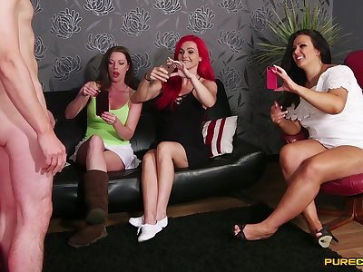 CFNM video with cock hungry babes Jesse Jayne plus Roxi Keogh