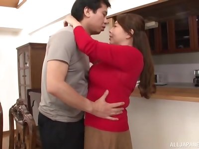 Incompetent boobs Asian MILF Kazama Yumi gets fucked on high the floor
