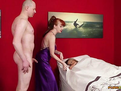 Mature redhead shares fresh dick with younger whores