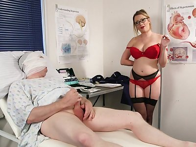Appealing nurse strips be useful to the patient and gets laid with him