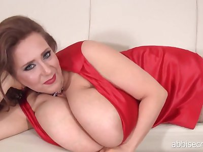 Maw Abbi Secraa in red dress - solo erotic striptease and boob play