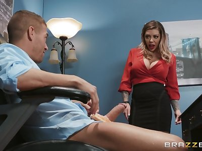 Hot-blooded cougar Karma RX rides his huge cock in burnish apply rendezvous